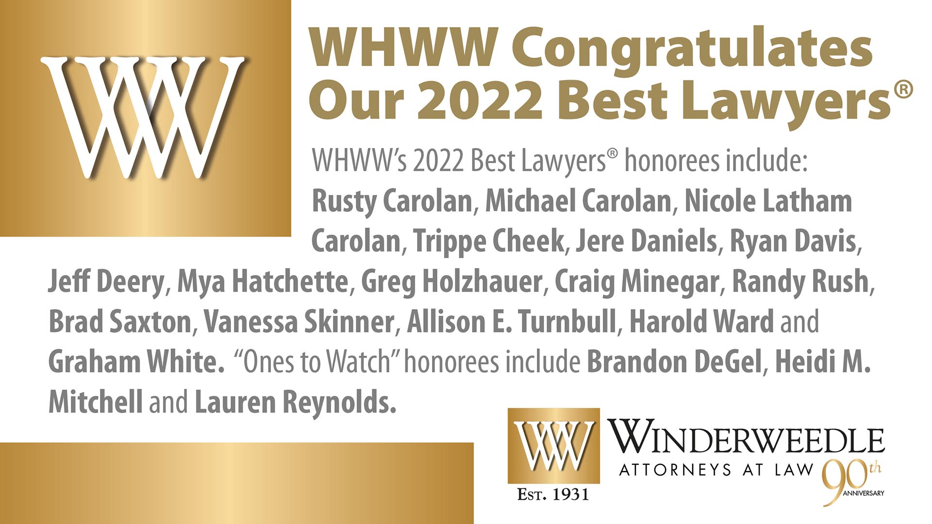 Sixteen from WHWW Named 2022 Best Lawyers in America